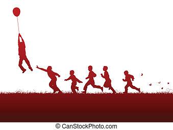 balloon, sopra, rosso, bambini