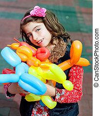 balloon, torsione, arte, bambini, felice