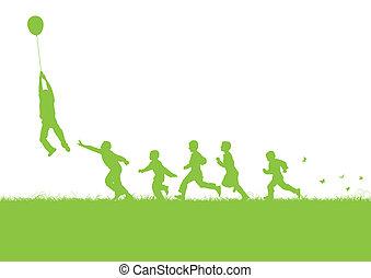 balloon, verde, sopra, bambini