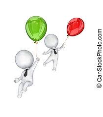 balloons., persone, piccolo, volare, 3d, aria