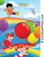 balloons., volare, bambini