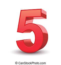 baluginante, 5, numero, rosso, 3d