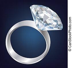 baluginante, diamante, luminoso, ring.
