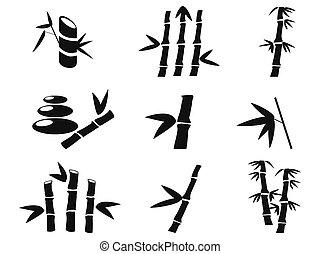 bambù, nero, icone