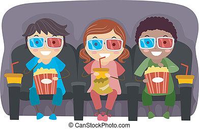 bambini, 3d occhiali