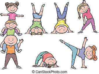 bambini, aerobica