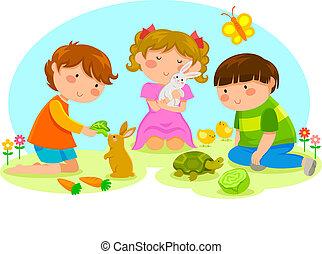 bambini, animali