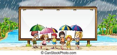 bambini, asse, pioggia, sagoma