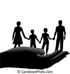 bambini, assicurare, famiglia, sicuro, padre, mano, madre