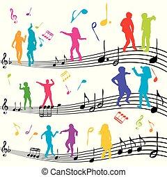bambini, ballo, astratto, nota, silhouette, musica