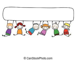 bambini, bandiera, felice