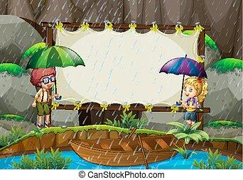 bambini, bandiera, sagoma, pioggia
