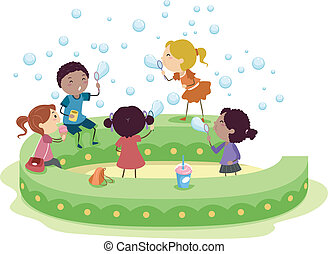 bambini, bolla