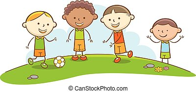 bambini, calcio, gioco