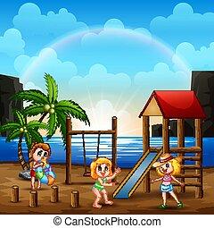 bambini, campo di gioco, gioco, felice, spiaggia