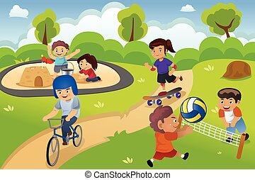 bambini, campo di gioco, gioco