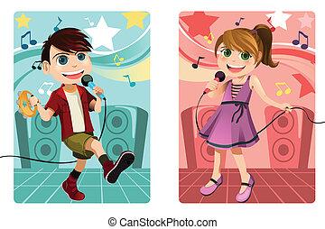 bambini, canto, karaoke