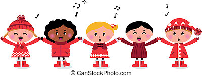 bambini, canzone, multicultural, caroling, sorridente, canto, felice