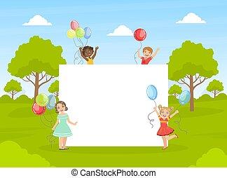bambini, carino, bandiera, presa a terra, colorito, illustrazione, vuoto, vuoto, felice, vettore, palloni