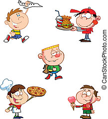 bambini, cartone animato, caratteri, felice