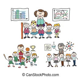 bambini, childrens, scarabocchiare, studio, squadra sport, classe chimica, sketch.