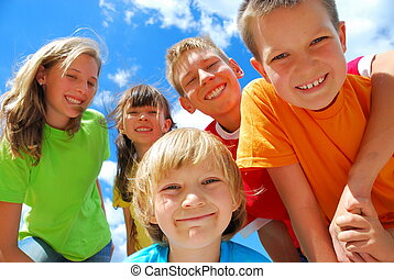 bambini, cinque, felice