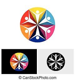bambini, colorito, &, astratto, icone, bambini, eccitato, vettore, logotipo, o, felice