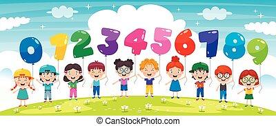 bambini, colorito, presa a terra, palloni, numero