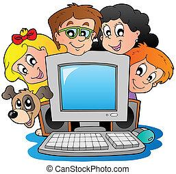 bambini, computer, cane, cartone animato