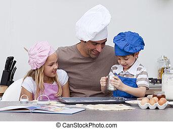 bambini, cucina, padre, cottura