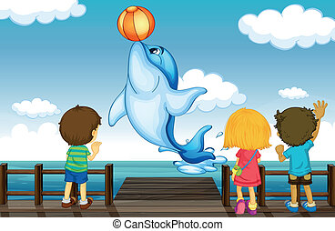 bambini, delfino