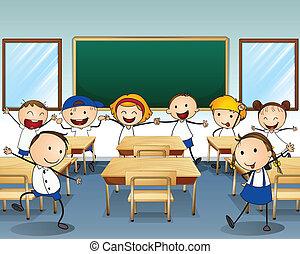bambini, dentro, ballo, aula