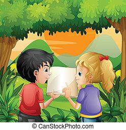 bambini, discutere, libro, foresta