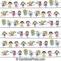 bambini, disegno, mano, felice