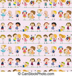 bambini, disegno, seamless