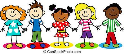 bambini, diversità, figura bastone, etnico