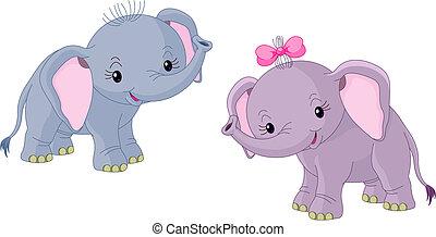 bambini, due elefanti