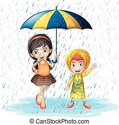 bambini, due, pioggia