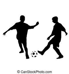 bambini, due, silhouette, vettore, gioco, soccer.
