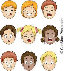 bambini, espressione, facciale