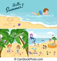 bambini estate, sabbia, children., spiaggia, gioco