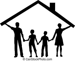 bambini, famiglia, casa, sopra, tetto, sotto, casa, presa