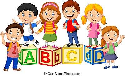 bambini, felice, scuola, blocchi, alfabeto