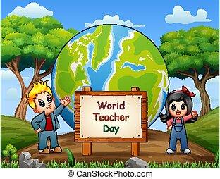 bambini, felice, standing, giorno, insegnante