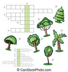 bambini, foglio, puzzle, -, albero, cruciverba, attività