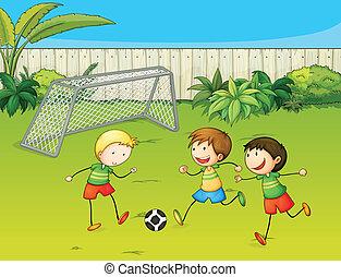 bambini, football esegue, suolo