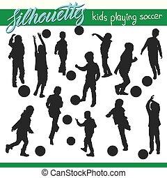 bambini, football, silhouette, vettore, calcio, gioco