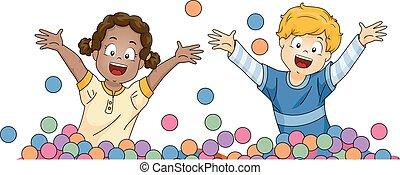 bambini, fossa, disposizione, palla