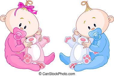 bambini, gemello