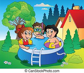 bambini, giardino, stagno, cartone animato